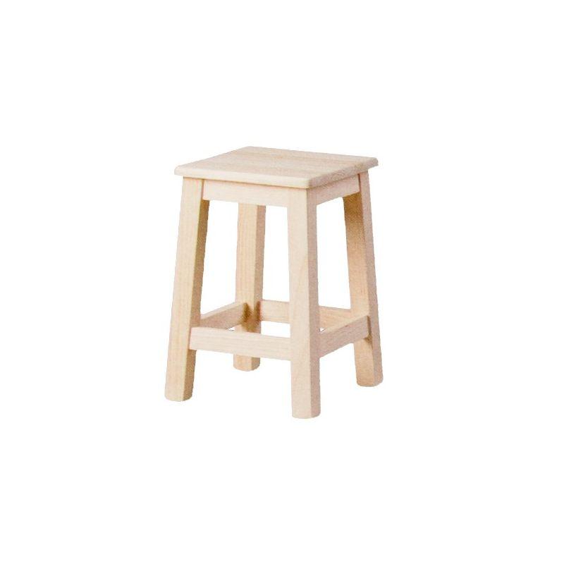 Taburete bajo liso asiento madera for Taburetes de madera rusticos