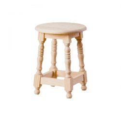 Taburete bajo torneado redondo asiento madera