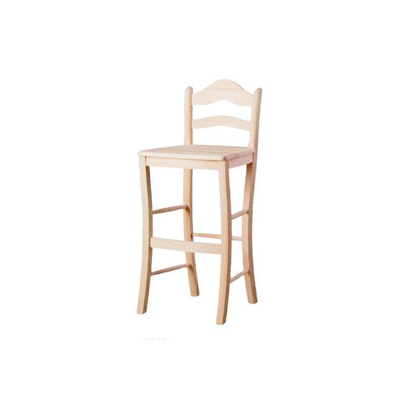 Taburete alto con respaldo asiento madera - Taburetes rusticos ...