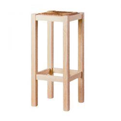 Taburete alto liso asiento anea pino