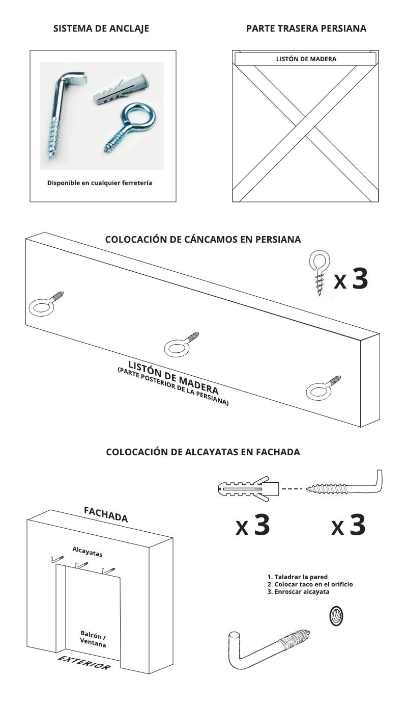 Sistema anclaje persiana de esparto alcayatas y cáncamos