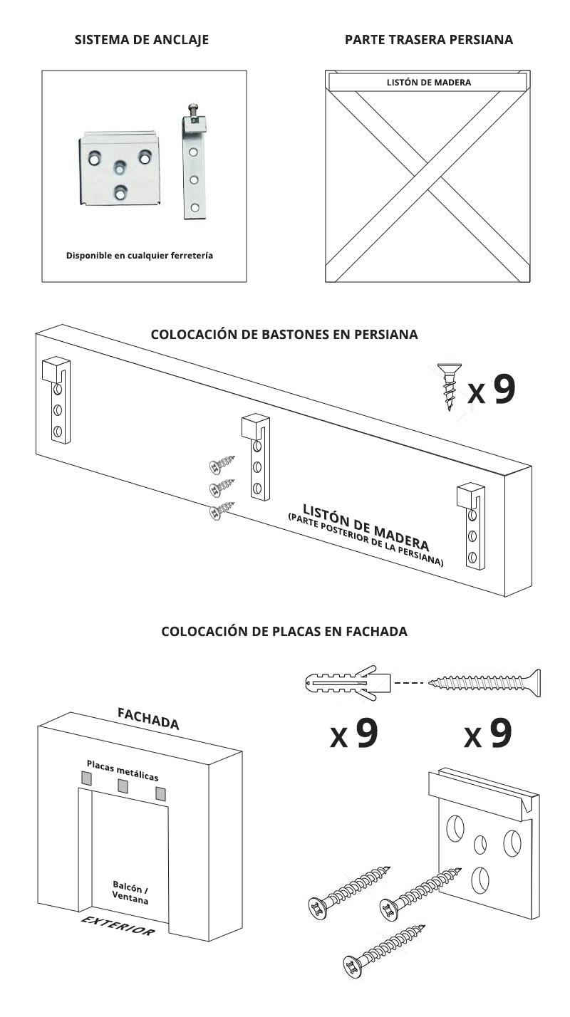 Sistema anclaje persiana de esparto placa y bastón